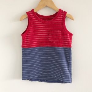 Cat & Jack Red & Blue Colorblock Stripe Tank 3T